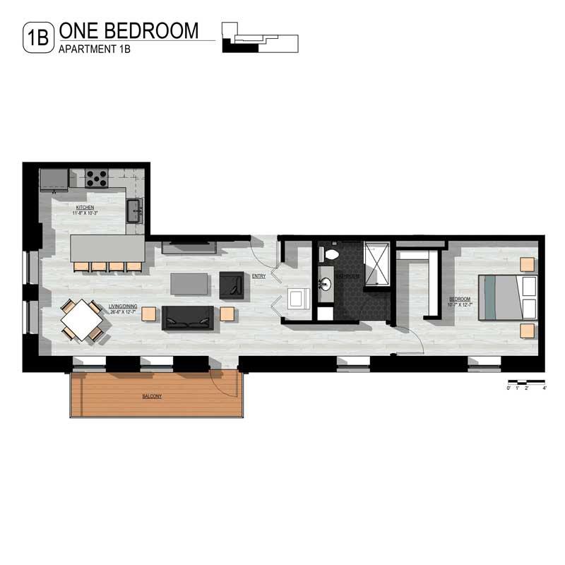 Long in Length 1 Bedroom Floor Plan