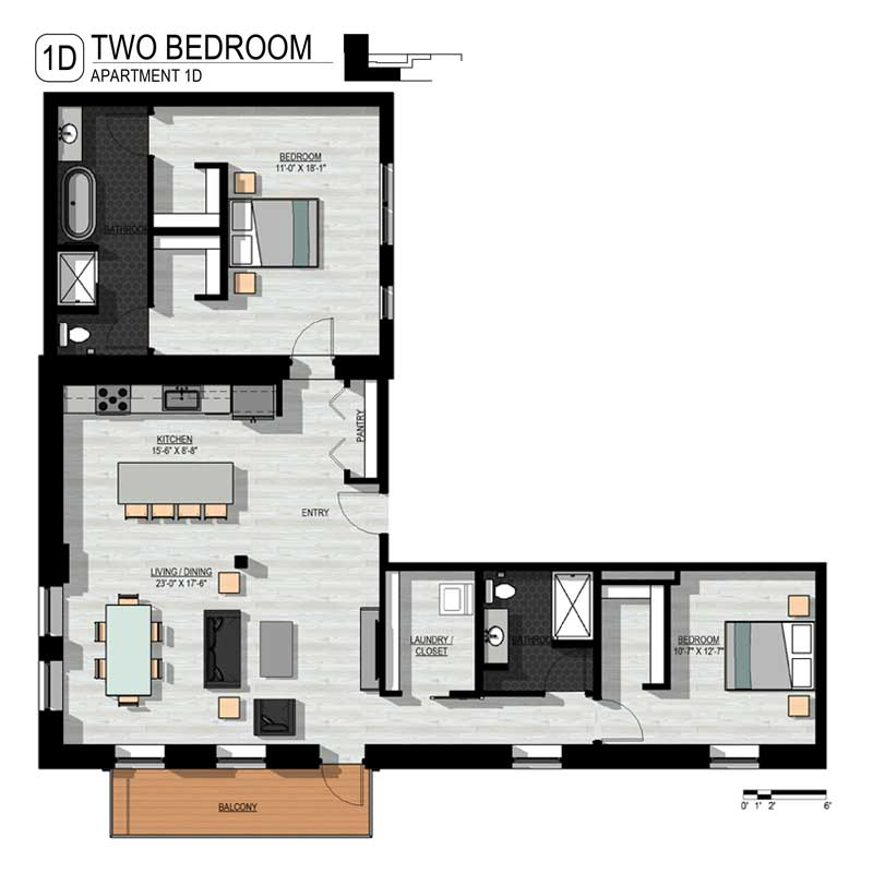 L shaped 2 Bedroom Floor Plan
